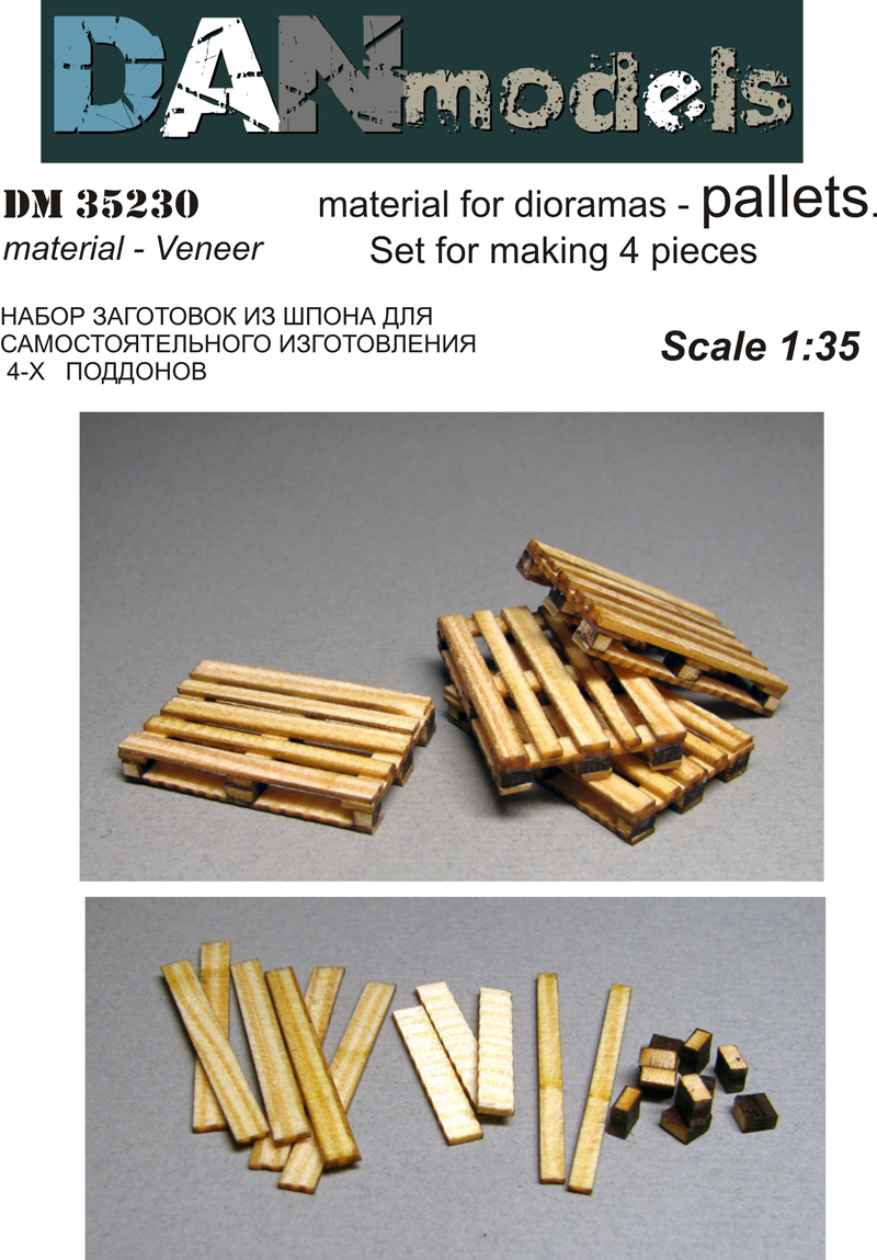 DM 35230 material for dioramas — PALLETS. Set for making 4 pieces. Veneer