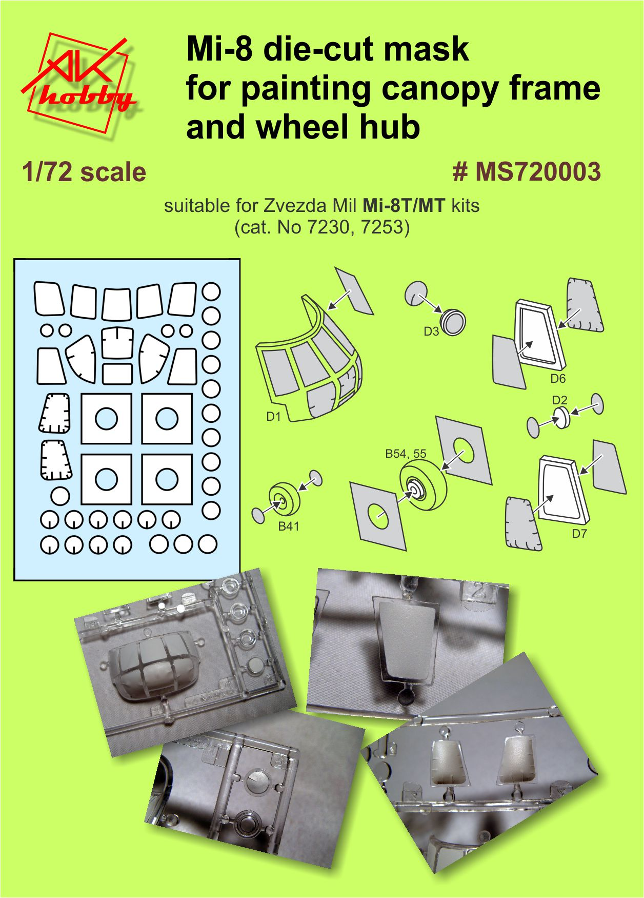 MS 720003 Mi-8 die-cut mask for painting canopy frame and wheel hup