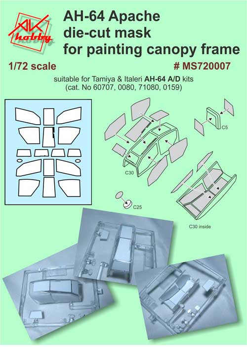 MS 720007 AH-64 die-cut mask for painting canopy frame