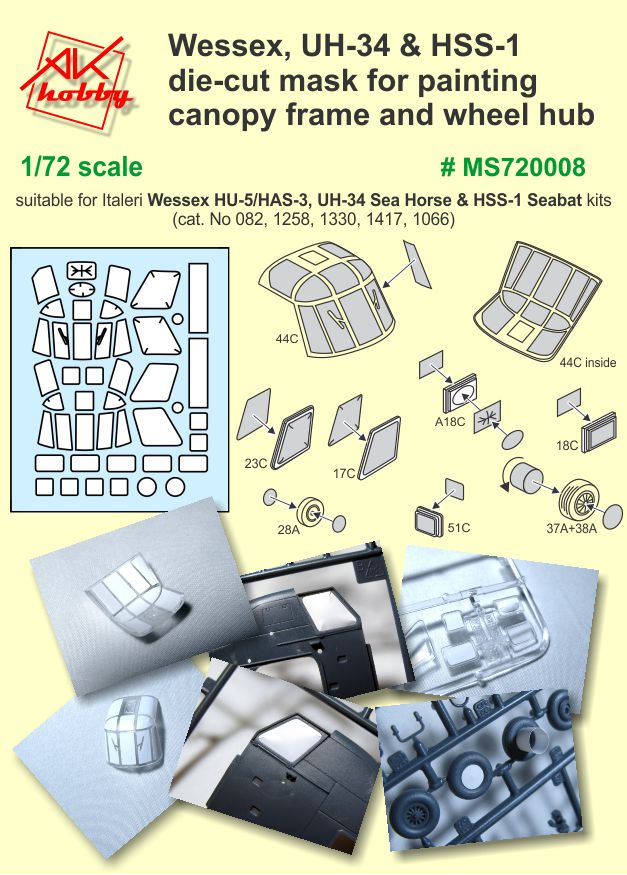 MS 720008 Wesses, UH-34 & HSS-1 die-cut mask for painting capony frame and wheel hub