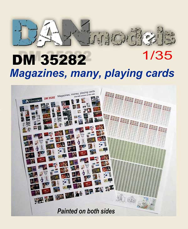 DM 35282 Magazines, many,  playing cards ( Painted on both sides)