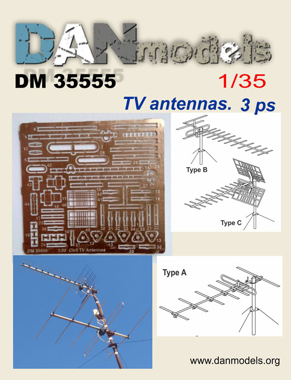 DM 35555 TV antennas. 3 ps. scale 1/35
