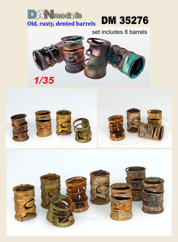 DM 35276  rusty, old, burnt barrels. Set of 8 pcs. resin. 3D printing