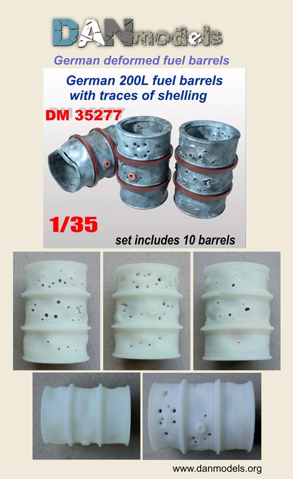 DM 35277. German deformed 200l. fuel barrels. Barrels with traces of shelling